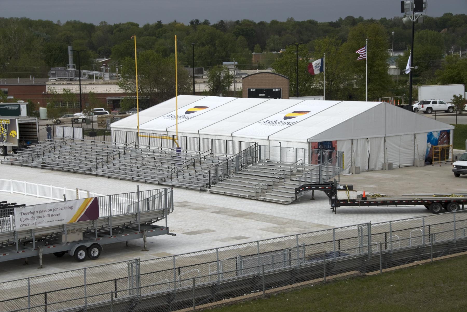 Set-up: 10,000+ student graduation ceremony at Ashford