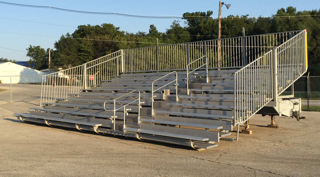 10-Row 30' long hydraulic towable bleacher rental