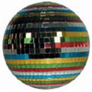 12 inch multi colored mirrored disco ball