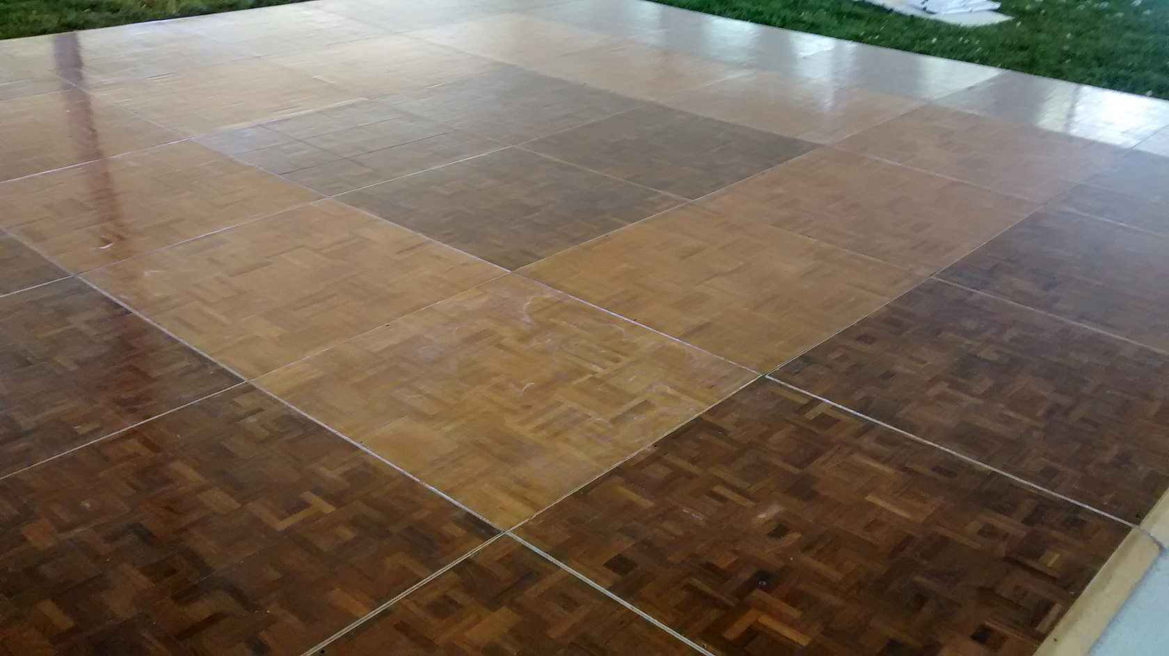 Portable parquet dance floor rental iowa city cedar rapids for Hardwood floor panels