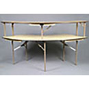 Our 6 foot serpentined table has 2-Tiers to store extra items. Great for bars at events.