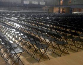 1,650 Standard Black Plastic Folding Chair setup for the William Penn University 2014 Graduation.