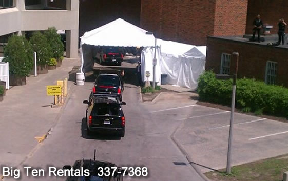 Our 20' x 30' frame tent with custom poles making it 10' height for the presidential motorcade on April 2012 in Iowa City,