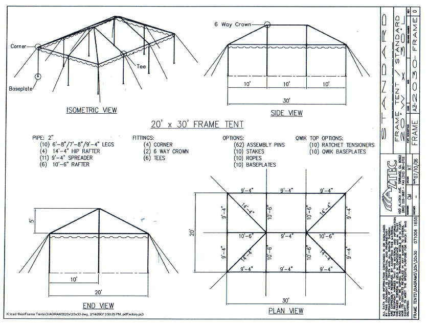 20ft x 30ft frame tent post and stakes plan iowa city for Wedding tent layout tool