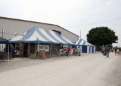 20′ x 40′ (left) and 20′ x 30′ (right) blue and white tents