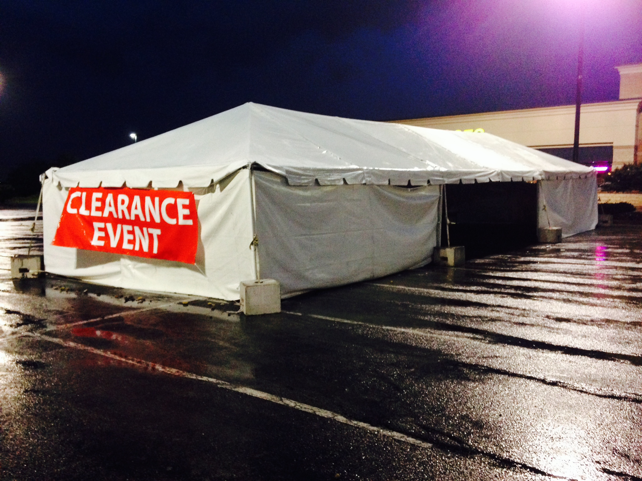 20u2032 x 60u2032 frame tent used for a clearance event in the parking lot. & 20u0027 x 60u0027 frame tent used for a clearance event in the parking lot ...