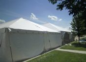 Left: 30′ x 30′ frame tent. Right: 40′ x 40′ hybrid tent.