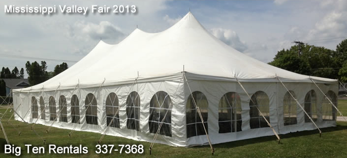 "Picture of our 30' x 60' Elite ""Rope and Pole"" event tent with French side walls installed."