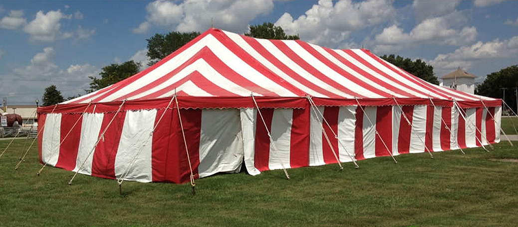 30' x 60' Gala rope and pole tent with side walls for rental