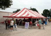 30′ x 60′ red and white rope and pole tent