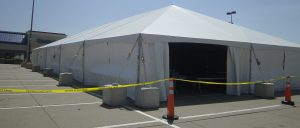 3/4 view of our 40' x 100' hybrid tent located at the Tanger Outlet Center.