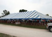 40′ x 100′ blue and white tent with collectible swap meet
