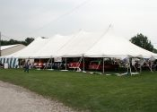 40′ x 100′ white elite rope and pole tent with the Iowa Corvair Enthusiasts/Club.