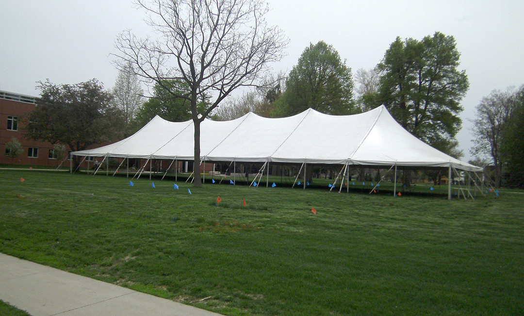 Side View Of Our 40 X 120 Rope And Pole Tent Iowa