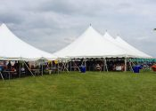 View of our 40′ x 40′ (Left) and 60′ x 120′ (Right) event tents at the North Liberty Blues and Barbecue festival in Iowa on July 12th 2014.