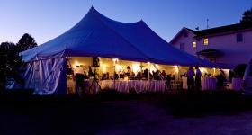 40′ x 60′ Elite Rope and Pole Wedding Tent. Image courtesy of Emily Crall, Iowa Wedding Photographer