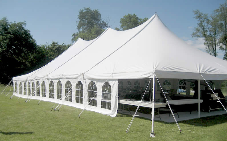 View of the outside of our 40u2032 x 80u2032 Elite u201cRope and Poleu201d event tent with French Side Walls installed. & Elite 40u0027x80u0027 Rope u0026 Pole Tent Rental: Iowa City Cedar Rapids