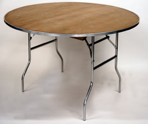 Rent our 48 inch standard round banquet table that seats 6 people.
