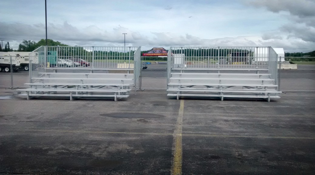 "5 row ""Quick Seat"" bleachers for rent."