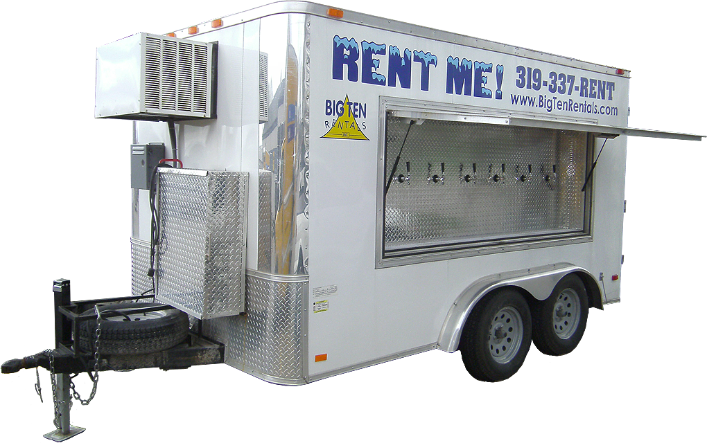 Rent our refrigerated beer trailer. It accommodates up to 30 kegs and 6 different beer taps.