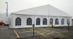 Picture of the short side of our Losberger clearspan event tent.