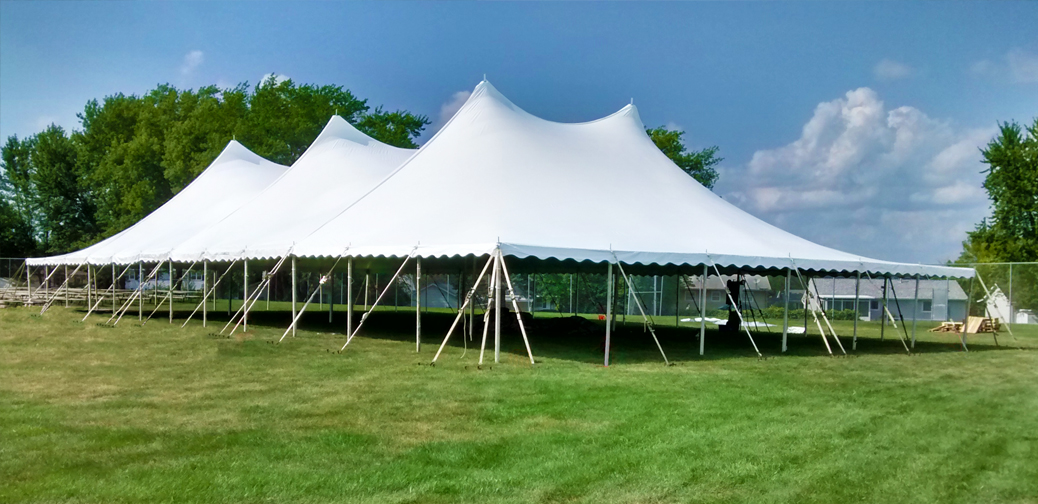 Bleacher tent party rental in quad cities iail est delivery 60 x120 twinpole rope and pole tent rental junglespirit Image collections