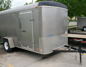 front: 6'x10′ enclosed cargo utility trailer