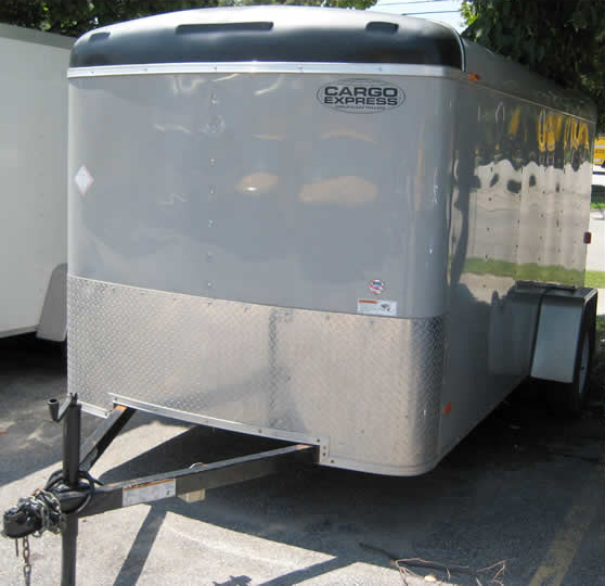 Front of our gray 6' x 12' enclosed cargo trailer.