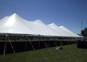 Outside view of 80′ x 150′ Rope and Pole tent.