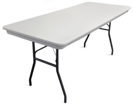 Rent our 8 foot long, lightweight, plastic rectangular banquet table.