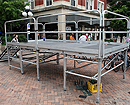 8ft x 16ft stage with railing and stairs rental (Marching band directors podium)