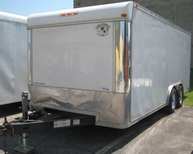8' x 18' Double rear door Enclosed box Trailer with double rear doors.