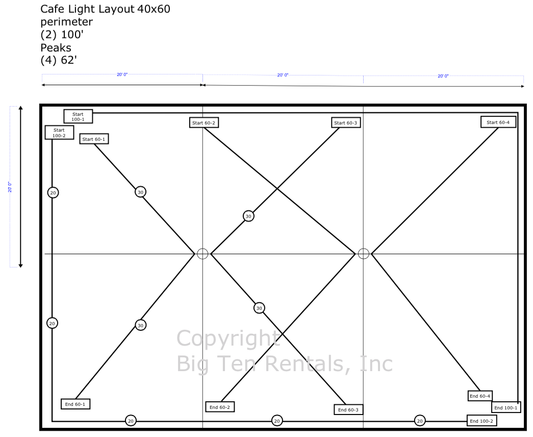 Café lights layout diagram for a 40x60 rope and pole tent