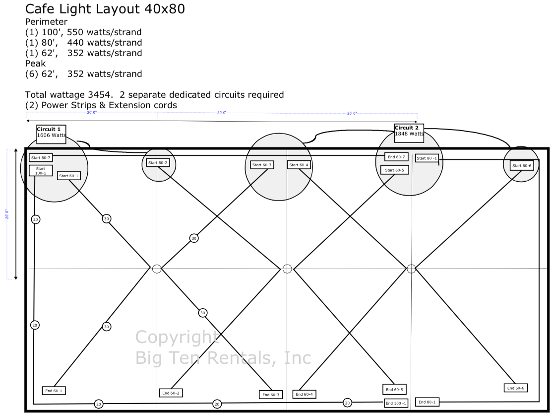 Café lights layout diagram for a 40x80 rope and pole tent