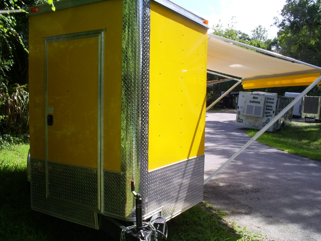 Front of the new multi beer tap trailer for sale with awning out