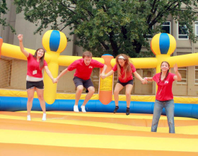 People bouncing on the Giant Circus bounce house/inflatable for rent in Iowa City, Cedar Rapids, IA