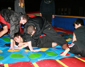 Giant inflatable twister game gets serious!