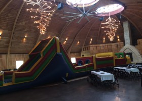 Inflatable obstacle course inside the Celebration Farm in Iowa City, IA