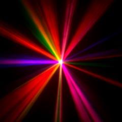 The Mania EF3 motorized dance light shinning.
