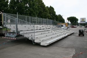 Pressure washing 10-Row, 45′ towable bleachers at Big Ten Rentals