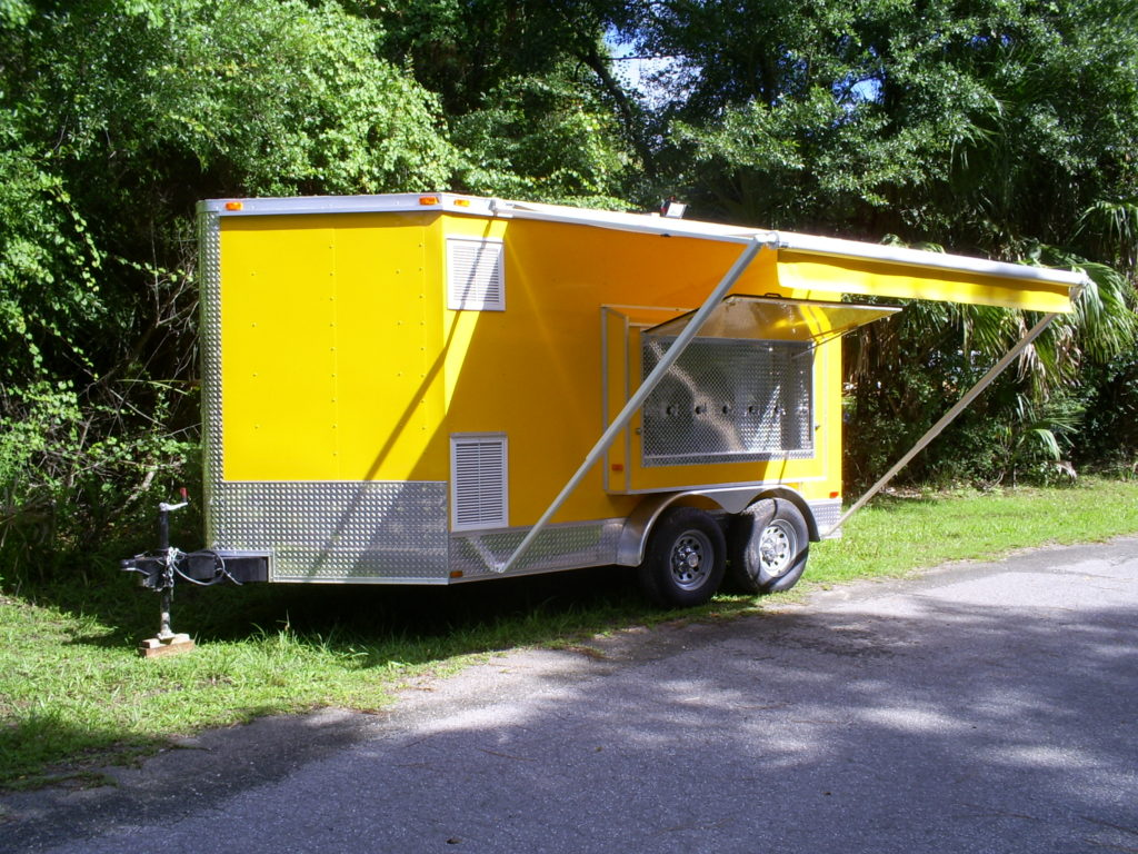 Side of multi beer tap trailer for sale with awning out