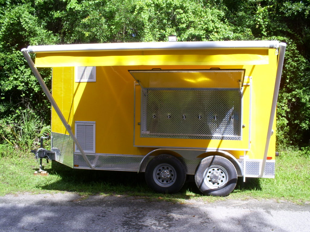 Side of the new multi beer tap trailer for sale with awning out