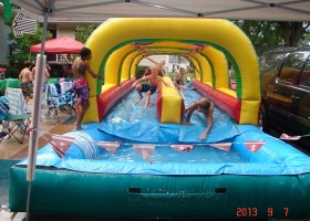Sliding of dual lane slip 'n slide inflatable