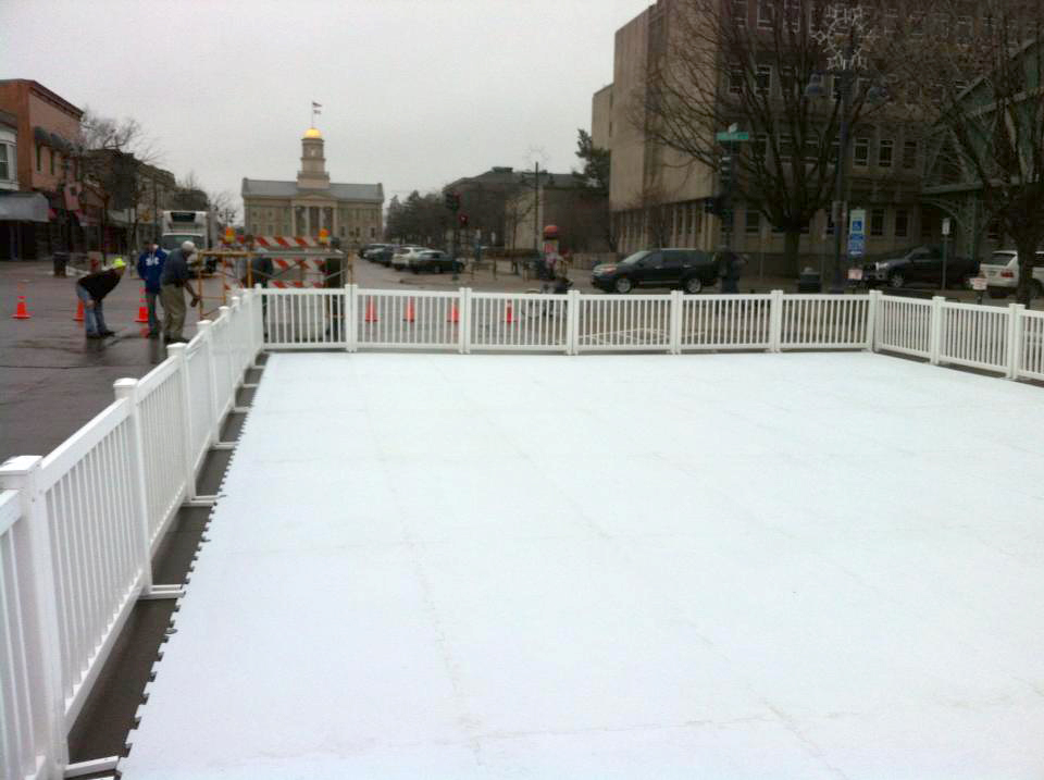 Synthetic Ice Skating Rink Set Up In Downtown Iowa City