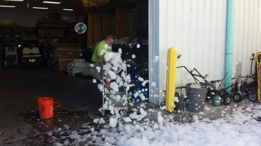 Testing the foam cannon before it goes out for rent