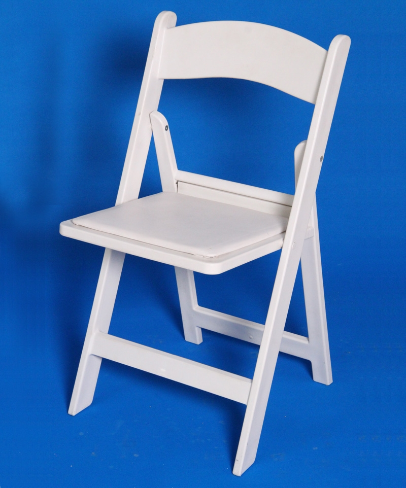 Rent White Resin Folding Chair With Padded Seat Iowa City