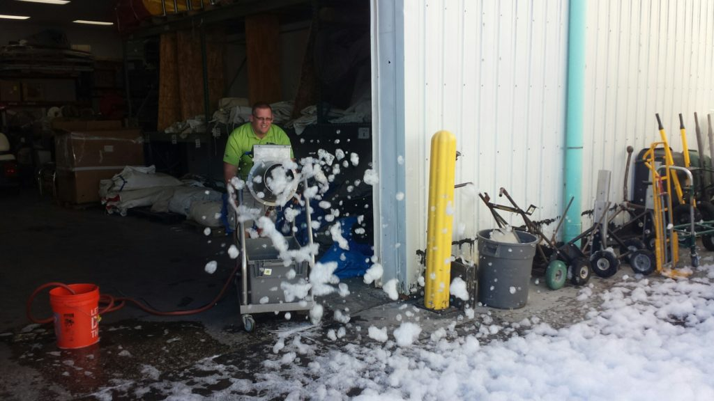 Tom testing out the foam cannon before it goes out for rent