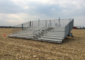 Towable 10-Row 30′ Hydraulic Bleachers at Farm Progress event