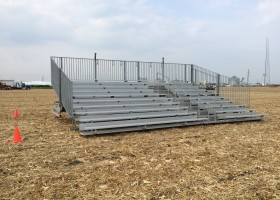 Towable 10-Row 30′ Hydraulic Bleachers at an event