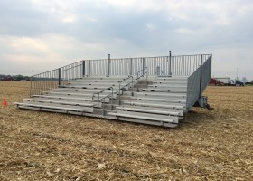 Towable 10-Row 30′ Hydraulic Bleachers rented for an event